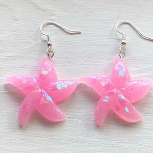 Starfish Earrings Pink Quartz